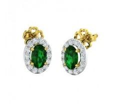 Natural Diamond & Gemstone Earring 2.33 CT / 2.30 gm Gold