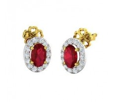 Natural Diamond & Gemstone Earrings 2.33 CT / 2.30 gm Gold