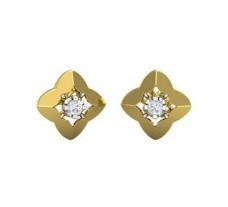 Natural Diamond Earrings 0.10 CT / 3.20 gm Gold