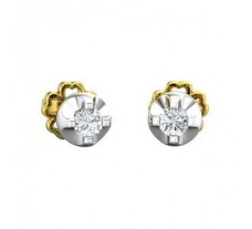 Natural Diamond Earrings 0.16 CT / 2.28 gm Gold