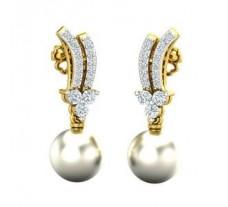 Natural Diamond Pearl Earrings 0.33 CT / 3.74 gm Gold