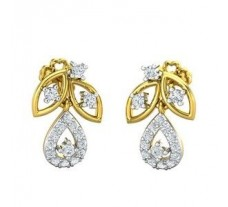 Natural Diamond Earrings 0.35 CT / 3.48  gm Gold