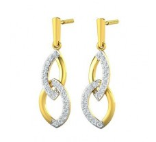 Natural Diamond Earrings 0.34 CT / 2.92 gm Gold