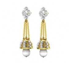Natural Diamond Pearl Earrings 1.52 CT / 5.55 gm Gold