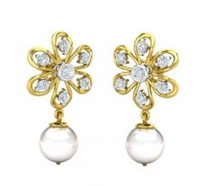 Natural \Diamond Pearl Earrings 2.45 CT / 2.93 gm Gold