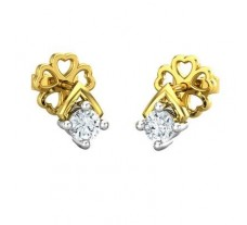 Natural Diamond Earrings 0.13 CT / 1.18 gm Gold