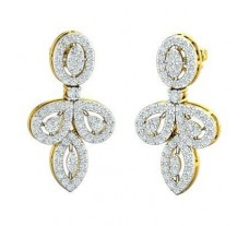 Natural Diamond Earrings 1.37 CT / 7.70 gm Gold