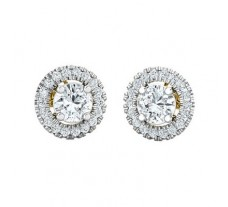 PreSet Natural Solitaire Diamond Earrings 0.85 CT / 2.20 gm Gold