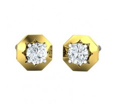 Natural PreSet Solitaire Diamond Earrings 1.00 CT / 4.60 gm Gold
