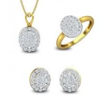 Natural Diamond Pendant Set -FullSet - 1.64 CT / 6.60 gm Gold