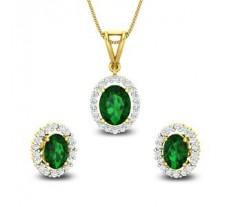 Natural Diamond & Gemstone Pendant Half Set - 3.73 CT / 6.05 gm Gold