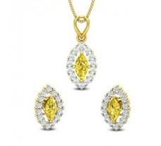 Natural Diamond & Gemstone Pendant Half Set - 1.95 CT / 4.30 gm Gold