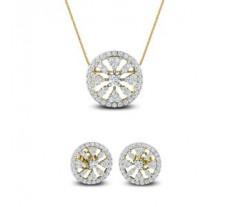 Natural Diamond Pendant Half Set - 1.69 CT / 6.40 gm Gold