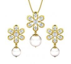 Diamond Pearl Pendant Half Set - 14.31 CT / 4.28 gm Gold