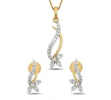 Natural Diamond Pendant Half Set - 0.40 CT / 3.55 gm Gold