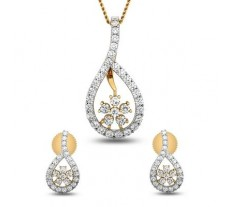 Natural Diamond Pendant Half Set - 1.24 CT / 3.75 gm Gold