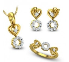 Natural Diamond Pendant Full Set - 0.76 CT / 7.30 gm Gold