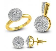 Natural Diamond Pendant Full Set - 1.30 CT / 8.04 gm Gold