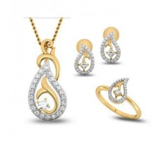 Natural Diamond Pendant Full Set - 0.64 CT / 4.95 gm Gold