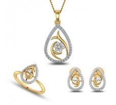 Diamond Pendant Set - Full 0.80 CT / 7.50 gm Gold