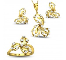 Diamond Pendant Full Set - 0.98 CT / 10.25 gm Gold
