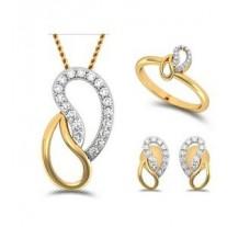 Natural Diamond Pendant Full Set - 0.40 CT / 6.10 gm Gold