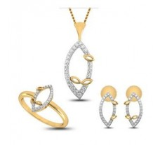 Diamond Pendant Full Set - 0.40 CT / 5.60 gm Gold