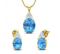 Diamond & Gemstone Pendant Half Set - 6.33 CT / 4.39 gm Gold