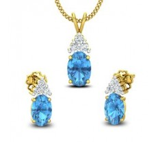 Diamond & Gemstone Pendant Half Set - 1.98 CT / 2.52 gm Gold