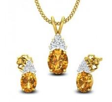 Diamond & Gemstone Pendant Half Set - 0.88 CT / 2.38 gm Gold