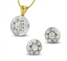 Diamond Pendant Half Set - 0.88 CT / 4.03 gm Gold