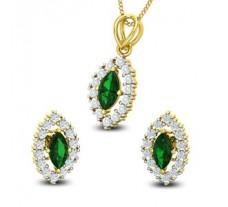 Diamond & Gemstone Pendant Half Set - 1.71 CT / 4.30 gm Gold