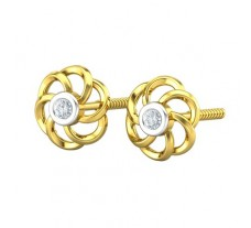 Natural Diamond Earrings 0.14 CT / 3.00 gm Gold