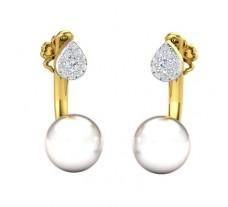 Natural Diamond Pearl Earrings 0.18 CT / 2.35 gm Gold