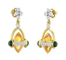 Natural Diamond & Gemstone Earrings 3.59 CT / 3.70 gm Gold