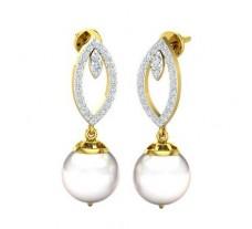 Natural Diamond Pearl Earrings 0.54 CT / 4.59 gm Gold