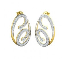Natural Diamond Earrings 0.848 CT / 5.43 gm Gold