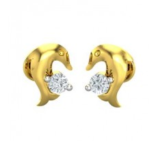Natural Diamond Earrings 0.07 CT / 2.25 gm Gold