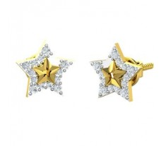 Natural Diamond Earrings 0.24 CT / 2.00 gm Gold