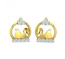 Natural Diamond Earrings 0.12 CT /  1.70 gm Gold