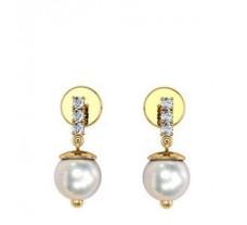 Natural Diamond Pearl Earrings 0.14 CT / 2.47 gm Gold