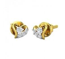Natural Diamond Heart Earrings 0.18 CT / 1.75 gm Gold
