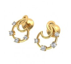 Natural Diamond Earrings 0.34 CT / 3.30 gm Gold