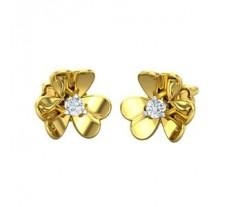 Natural Diamond Heart Earrings 0.06 CT / 2.83 gm Gold
