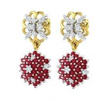 Natural Diamond & Gemstone Earrings 1.31 CT / 7.30 gm Gold