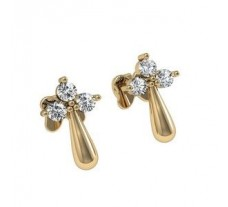 Natural Diamond Earrings 0.18 CT / 3.96 gm Gold