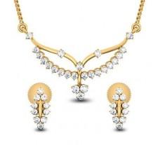 Natural Diamond Tanmaniya Set - 0.56 CT / 3.15 gm Gold