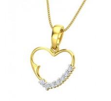 Natural Diamond Heart Pendant 0.10 CT / 1.50 gm Gold