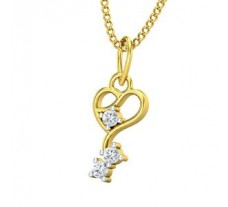 Natural Diamond Heart Pendant 0.07 CT / 0.65 gm Gold