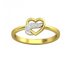 Natural Diamond Heart Ring 0.05 CT / 1.70 gm Gold